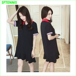 Wholesale Polo Neck Dress - Black Short-sleeve Tennis Dress Women Polo Neck Tee Shirt For Running Jogging S M L XL