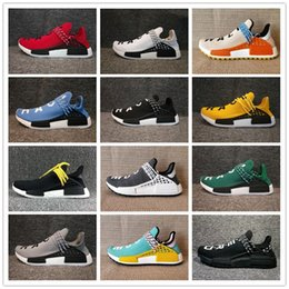 Wholesale royal blue glitter flats - HOT Pharrell Williams X NMD Human Race Running Shoes Yellow Black White NMD Runner NMD men and women Trainers Sneakers Boots 36-48