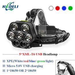 luz led roja recargable Rebajas USB recargable CREE XML-5 * T6 7 LED faro principal 40000 lúmenes LED blanco rojo verde azul Head Light By 2 * 18650