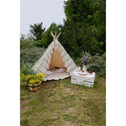 Wholesale Computer Photo Background - Outdoor Camping Kids Children Girl Photography Backdrops Printed White Tent Purple Yellow Flowers Spring Nature Scenic Photo Background