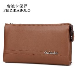 Wholesale top brand men business bag - FEIDIKABOLO Top Brand Male Handy Bags Wallet Clutch Men's Wallets Business Carteras Mujer High Quality Leather Men Purse Zipper