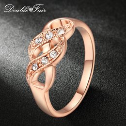 Wholesale Fair Gift - Double Fair Cubic Zirconia Infinity Rings Rose Gold Color Fashion Spacial Wedding Engagement Ring Jewelry For Women Gift DFR334