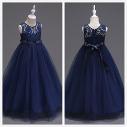 Wholesale Sleeveless Tulle Communion Dresses - Cute Navy Blue Tulle A Line Sash Long Flower Girls' Dresses Crew Neck Sleeveless Lace Top Birthday Party Little Girl Dresses In Stock MC0889