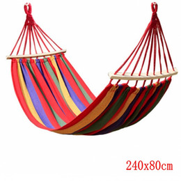 Wholesale Wooden Swings - Canvas Camping Hammock Wooden stick Prevent Rollover Hammocks Bar Garden Camping Swing Hanging Bed Red Blue Stripe 240x80CM