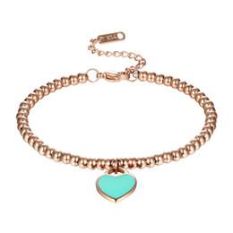 Corazón rosa luces online-Classic Brand Light Blue And Pink Esmalte Corazón Charm Bead Pulsera Acero inoxidable Color oro Pulseras Mujer al por mayor