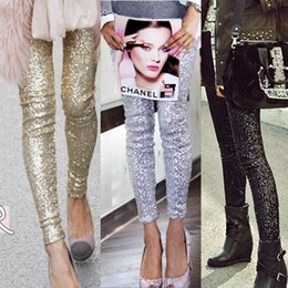 Wholesale Novelty Leggings - Sequin Women Leggings Streetwear 2018 Calca Feminina Punk Bling Trousers Shining Gold Black Silver Spangle Formal Pants