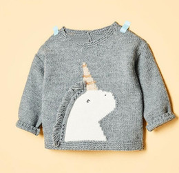 Wholesale Unicorn Knitting - New Kids Sweater Winter Spring Baby Kids Knitted Sweater Top Boys Girls Unicorn Pullover Top Gray Color
