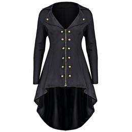 Wholesale Womens Long Length Coats - Gamiss Autumn Winter Jacket Women Double Breast Plus Size 5XL 4XL High Low Coat Lapel Long Zip Up Coat Solid Womens Outwear