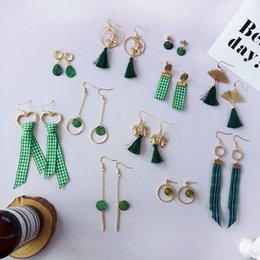Wholesale Handmade Fashion Earrings - Women simple handmade earrings Bohemia long Green grass fresh Green cloth earrings For Women Fashion Statement Charm Jewelry Party Gifts new