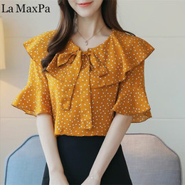 Wholesale Dotted Ladies Chiffon Tops - La MaxPa 2018 Women Summer Dot Chiffon Blouses Shirts Lady Girls Casual O-Neck Short Flare Sleeve Tops Shirts Blusas