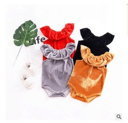 Wholesale Green Babies Organic Clothing - Newborn Baby Romper Pleuche 2018 Spring Summer Velour Overall Short Sleeved Romper Kids Baby Clothes Outfits 4 Colors DHL Free Shipping