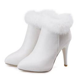 Wholesale Purple High Heels For Wedding - Keep Warm White Fur Boots Winter Ankle Boots For Wedding Party Plus Size 33 34 to 40 41 42 43 Women High Heel Shoes 4 Colors