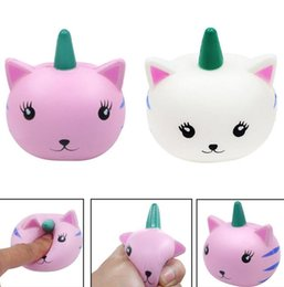 Wholesale Cute Pink Cat - Cute Kawaii Unicorn Cat Face Squishy Slow Rising Cute Soft Squeeze Relax Cake Bread Kid Toy&Gift EEA223 50pcs