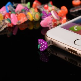 Wholesale Iphone Cute Plug - Wholesale 2000pcs Cute Fruit Anti Dust Plug For Iphone And 3.5mm Earphone Cap For Mobile Phone Free Shipping