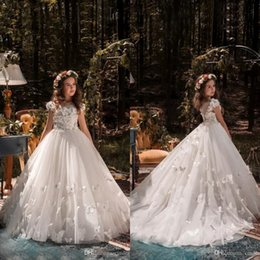 Wholesale Beaded Wedding Dresses Butterfly - 2018 Princess Flower Girl Dresses for Weddings Beaded Flowers Butterflies Kids Wedding Dress Beautiful Girls Birthday Pageant Gowns