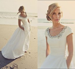 Wholesale Taffeta Wedding Dresses Pockets - 2018 Cheap A Line Wedding Dresses Scoop Neck Short Sleeves Beads Crystal Beach Bohemian Pockets Long Vestidos Custom Plus Size Bridal Gowns