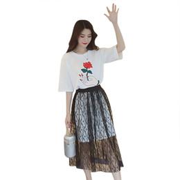aae28bf01ed 2019 цветочные кружевные платья midi Из двух частей   компл. Harajuku лето свободные  с короткими
