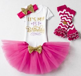 Wholesale Girl Birthday Tutu Outfits - Newborn Baby Girl Clothing Little Girl 1st Birthday Outfits Baby Romper+Tutu Dress+Headband Infant Party Costume Kids Clothes