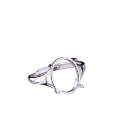 2019 sterling silber ring einstellung oval 925 Sterling Silber Frauen Engagement Ehering 10x13mm Oval Cabochon Semi Mount Ring Bernstein Opal Türkis Einstellung günstig sterling silber ring einstellung oval