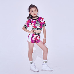 hip hop trajes meninas Desconto Nova fantasia de dança de jazz para garotas Cheerleader Dancing Hip Hop Trajes Kids Dancewear Tops Shorts 2 Pcs Set Jazz Roupas DL2456