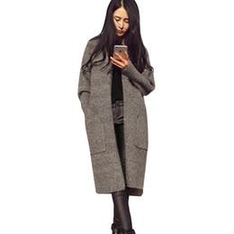Женщина вязаная одежда дизайн онлайн-Женщины Повседневная Длинные Вязаный Кардиган Осень Корейский Harajuku Свитера Пальто Свободные Сплошной Цвет Карманный Дизайн Свитер Куртка 2018 Весна Одежда