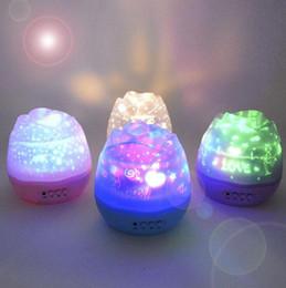 Wholesale Baby Lamp Projector - Romantic Rose Buds Shaped Rotating Projector Lamp LED Night Light USB Power Supply Children Kids Baby Sleep Nightlight Sky Star OOA4151