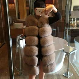 Wholesale faux fur vests for women - 2017 Winter Faux Fur Vests High Quality Artificial Fox Fur Coat for Women Patchwork Medium Length Faux Women's Vest