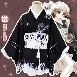 2019 vestito cosplay delle domestiche Yosuga no Sora Kasugano Sora Summer Festival Lolita Kimono Yukata Maid Dress Meidofuku Uniforme Outfit Anime Costumi Cosplay vestito cosplay delle domestiche economici