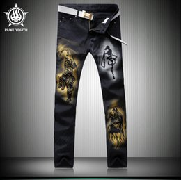 Wholesale Tiger Stripes Pattern - New Brand Male Fashion Black Tiger Print Jeans Shorts Male Casual Trousers rend Slim Small Trousers For Men's Clothing