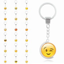 Wholesale Rotating Keychain - Whosale Emoji Car Bag Keychain Glass Cabochon Rotate Emoji Pattern Cute Key Chain Ring for Unisex Gift Free Shipping D602S