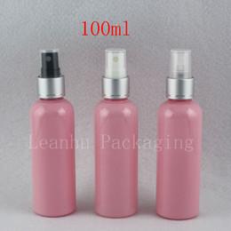 Rosa kosmetikflaschen online-100 ml X 50 stück Rosa Leere Aluminium Sprühpumpe Parfüm-flaschen 100cc Luxus Toilette Wasser Nebel Sprayer Container Kosmetik Verpackung