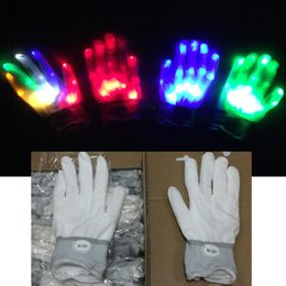 2019 bunte led-handschuhe LED Handschuhe Nylon Bunte LED Handschuhe Rave Light Finger Beleuchtung Flashing Handschuh Skelett Handschuhe Party Weihnachten Holloween Geschenk Spielzeug HQ033 günstig bunte led-handschuhe