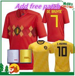 Wholesale Men S Tops - 2018 Belgium Home away red top LUKAKU FELLAINI HAZARD KOMPANY DE BRUYNE MERTENS Soccer Jersey 18 19 Belgium Thailand Quality football shirt