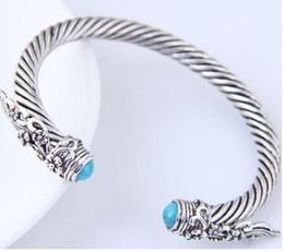 Bagues en argent sterling anciennes en Ligne-Génie à la mode en métal reconstituant des manières antiques bracelet d'ouverture lumineux bracelet d'hommes et de femmes bracelet de personnalité cadeau