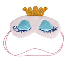 Спящие маски с завязанными глазами онлайн-Lovely Pink / Blue Crown Тени для век Eye Sleep Mask Travel Cartoon Длинные ресницы с завязанными глазами Cute Eyes Cover Инструмент для ухода за лицом