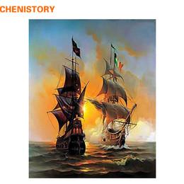 2019 peinture de paysage marin CHENISTORY Seascape Bateau à voile Europe Art Toile Peinture BRICOLAGE Peinture Par Numéros Huile Sur Toile Décor À La Maison 40 * 50 cm promotion peinture de paysage marin