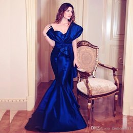 royal blue prom dresses diamonds UK - Glamorous Diamond-Blue Long Prom Dresses Sexy Off Shoulder Ruffles Ruched Mermaid Formal Evening Dress Saudi Arabia Celebrity Party Gowns