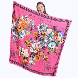 Wholesale Large Maps - New Brand Hijab Shawl 100% Twill Silk Scarf Floral World map 130x130cm Large Square Scarves Print Kerchief Woman Fashion Headband Shawl
