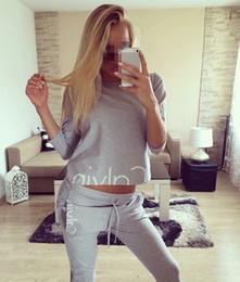 Sudadera mujer xl online-Moda casual para mujer de algodón de manga larga sudaderas con capucha sudaderas pantalones 2 piezas conjuntos negro gris suéter ropa trajes