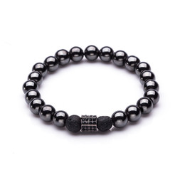 2019 steinketten 8mm schwarz hämatit und vulkanischen stein perlen männer armband für frauen krone männliche hand kette armbänder liebhaber modeschmuck günstig steinketten