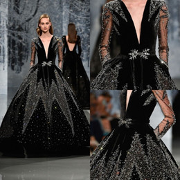 ball gown velvet dresses Coupons - 2018 Ziad Nakad Prom Dresses Luxury Beaded Sequins Crystal Sexy Deep V Neck Velvet Long Sleeve Evening Gowns Luxury Formal Dress Party Wear