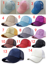 Wholesale ponytail red - 2018 23 colors + camo women cc hat Glitter Ponytail CC Baseball hat Girl Softball hats back hole Pony Tail Glitter Mesh Baseball CC Cap Hat