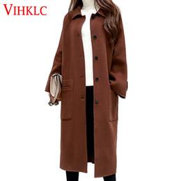 8e1fb118c3f4 2016 Frauen Winter Wolle Jacke Neue koreanische Version der extra langen  reinen Farbe lose Einreiher Wollmantel A190 günstig extra lange wintermäntel