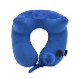 Wholesale Inflatable Climb - U-Shaped Pillow Inflatable Travel Head and Neck Pillow for Airplanes with Packsack, Inflate with Pump, Washable cover