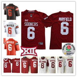 Wholesale roses bowl - NCAA 2017 Rose Bowl Oklahoma Sooners Baker Mayfield College Football Stitched white Brown #6 Baker Mayfield Cleveland Jersey S-3XL