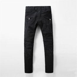 Wholesale fit pants - Balmain New Fashion Mens Designer Brand Black Jeans Skinny Ripped Destroyed Stretch Slim Fit Hop Hop Pants With Holes For Men