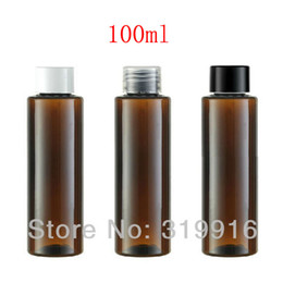 Wholesale brown pet bottles - 100ml X 50 brown cylinder empty plastic bottle with screw top lid, amber PET container for cosmetics packaging, lotion bottles