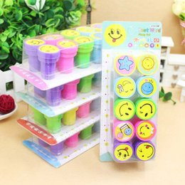 Wholesale Self Inking Stamps Kids - 10pcs set Christmas Gift Lovely Kids Cartoon Stamp Children Custom Plastic Rubber Self Inking Stampers Toys