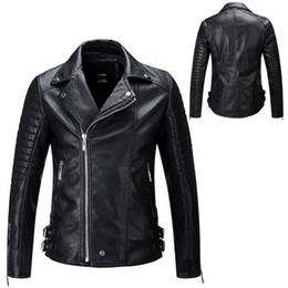 cuir de chaqueta Promotion Chaqueta De Cuero Hombre 2019 Nouveau Populaire Hommes Biker Vestes En Cuir Jeune Homme Survêtement Court Style