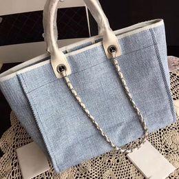 Bolso de playa azul online-Diseño de marca Moda Lienzo Azul Cambon Bolsa de Playa con bordado 38 cm Grandes Bolsas de Asas de Compras de Las Mujeres Bolso de Cadena